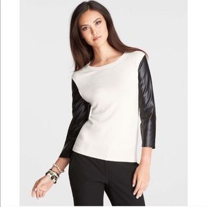 Ann Taylor Faux Leather Sleeve Sweater